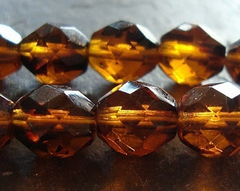 Czech Glass Beads 10mm Tortoise Brown Faceted Rounds - 12 Pieces