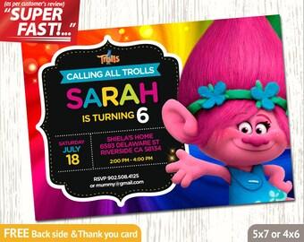 TROLLS POPPY INVITATION, Trolls Birthday Invitation Girl, Trolls Invitation, Trolls Party Invite, Trolls Thank You Card, Poppy Invite, v5g