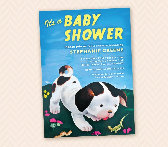 Poky little puppy inspired baby shower invitation design filmwisefo Image collections