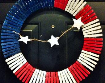 Clothes Pin Wreath - Flag Wreath - American Flag Wreath - Patriotic Wreath - 4th of July Wreath - Summer Wreath - Spring Wreath