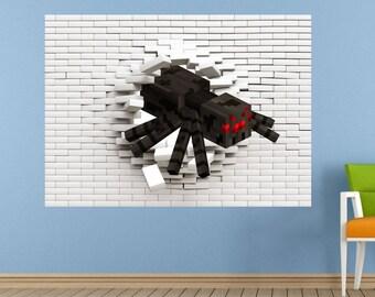 Spider Pixel Block 3d Wall Sticker, Decal