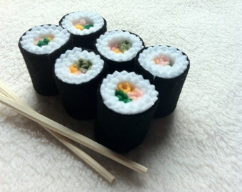 Sushi Roll Felt Play Pretend Food Kids Toy Kitchen accessories 6 piece set of Sushi Plus Set of Training Chopsticks and plastic Take Out Box