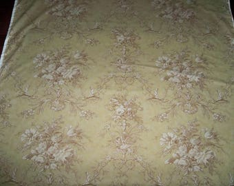 KRAVET LAURA ASHLEY French Country Shabby Bouquets Birds Toile Fabric 10 Yards Toffee Multi
