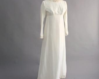 SALE white velvet wedding dress . empire waist wedding dress . vintage white velvet gown . 1960s wedding dress . xs wedding dress