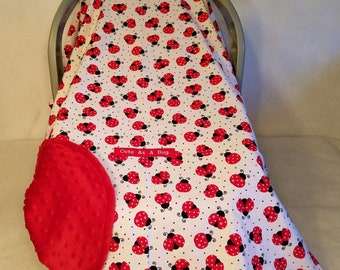 "Car Seat Canopy Cover Ladybug 100% Cotton Print With Red Minky Dot Lining, Hand Made Custom Embroidery ""Love Bug"" With 2 Velcro Straps"