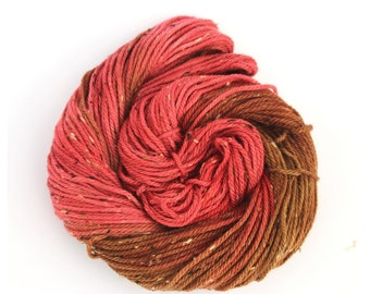 Worsted fleck wool, handdyed aran wool, hand dyed merino donegal crochet yarn, Perran Yarns, Chilli Roast, scarlet red chestnut brown