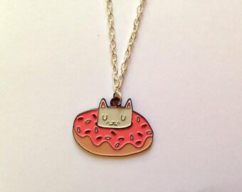 Enamel Cat Necklace - Cat Necklace - I like cats - Cat pendant - Donut - Donut cat - enamel necklace - cat jewellery - enamel cat jewellery