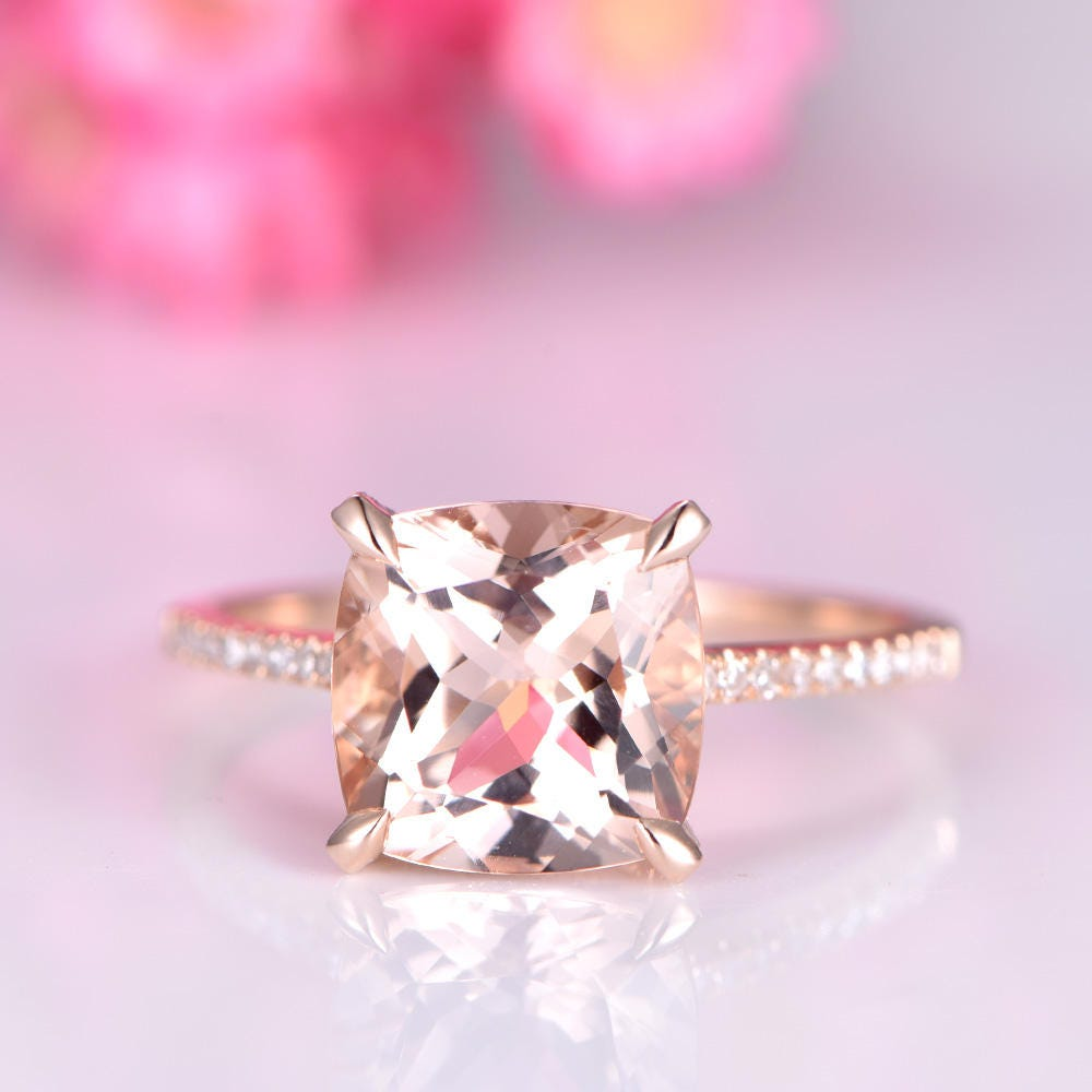 Big cushion morganite engagement ring 9mm morganite ring