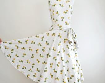 Vintage 1950s Ellen Kaye Party Dress S/M // white polka dot drop waist rhinestone daisy novelty print // 50s circle skirt