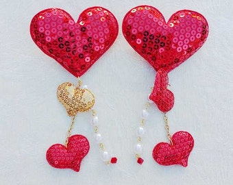 3 Sequin Hearts with Pearls Hair/Brooch Accessory
