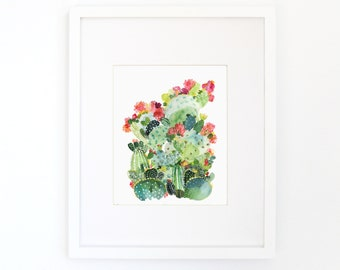 Cactus Ensemble - Watercolor Art Print