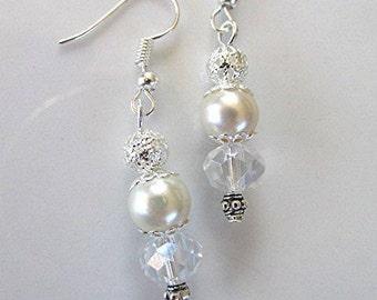 Bridal earrings bridal pearl earrings crystal earrings dangle earrings AB aurora borealis crystal vegan pearl vegan earrings bridal gift.