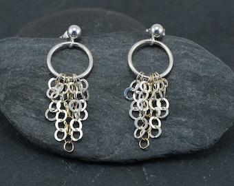 Chain waterfall earrings, sterling silver earrings, silver + gold fill chain, feminine jewelry, summer jewelry, everyday earrings, gift