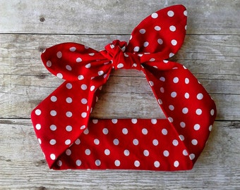 Rosie the Riveter top knot red polka dot Valentine baby headband bandana bow knot 1950s hair tie retro rockabilly headband made by FlyBowZ