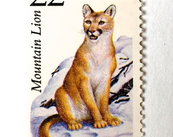 10 Mountain Lion Postage Stamps // Unused Vintage 22 Cent Panther Stamps for Mailing