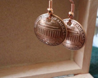 Lucky Penny Earrings-ZenWorks Handmade-domed with tails side out- copper penny recycled earrings