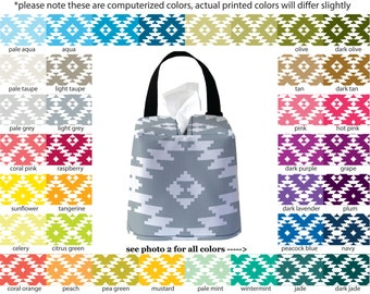 Auto Sneeze Box - Aztec - PICK YOUR COLOR - Car Accessory Automobile Caddy Tissue Case Tribal