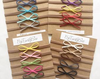 Set of 5 | Skinny Dainty Suede bow on Nylon Headband | choose your colors | baby bow | Baby Headband