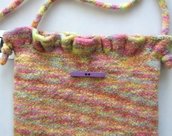 Purse  Wool Hand Knitted Felted Custom Lined Soft Pastel With Ruffle