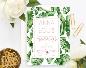 Tropical Wedding invitation with white envelope - Wedding invitation - Tropical Wedding - Boho Wedding - Banana Leaf Wedding Invitation