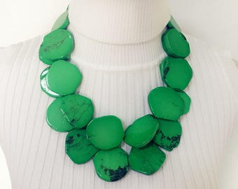 Women's Double Strands Green Turquoise Irregular Stone Necklace Statement Necklace Chunky Necklace Wedding Banquet Jewelry