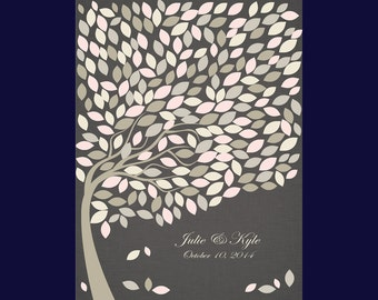 Large Wedding Guests Signature Tree, Guestbook Alternative, Print with 240 Signature Leaves, Large Guestbook Poster