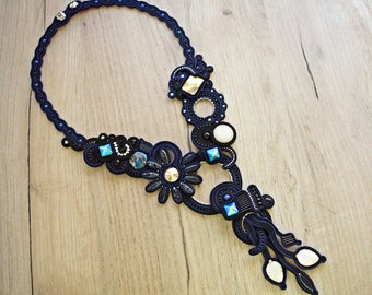 Dark blue and black soutache necklace with swarovski crystals