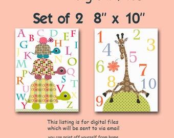 "ALL my prints, DIGITAL file, Art for Children , Kids Wall Art, Baby Girl Room Decor, set of 2 8"" x 10"", DIGITAL image"
