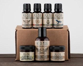 Mens Beard Grooming Gift Set - WILD MAN Luxury Beard Care Sampler For Him