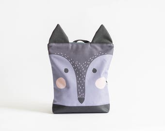 Wolf backpack, Kids backpack, Children backpack, Printed waterproof backpack