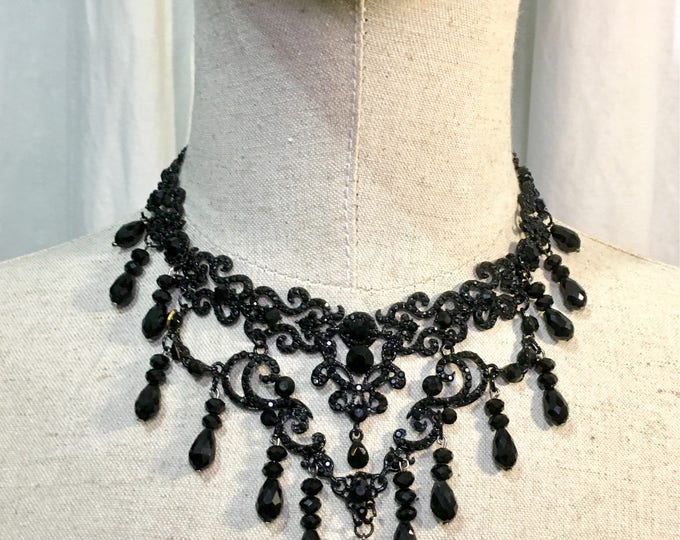 Handmade necklace/headpiece in alloy metal with rhinestones black decorations and glass beads, adjustable size