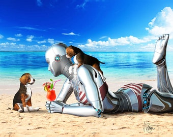 Angie Droid Goes On Vacation- android, illustration, sci-fi
