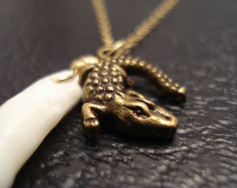 American Alligator Necklace, Genuine Alligator Tooth Necklace, Delicate Gold Necklace, Native American Tribal Real Animal Tooth Necklace