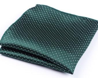 Green Polka Dot Pocket Square | green handkerchief | mens pocket square | mens handkerchief | mens paisley handkerchief | gift for him