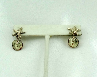 Vintage Star Thrower Starfish and Sand Dollar Sterling Silver Earrings FREE SHIPPING! #STARFISH-ERG4