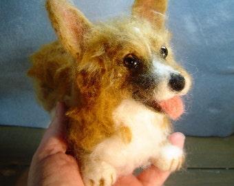 Corgi Memorial Felted custom  Dog pet portrait