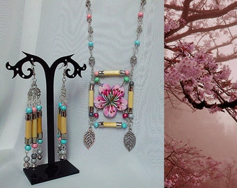 A piece of Nature, Double 2-Piece Set Sakura, Cherry Blossoms Earrings&Necklace, Wood Bamboo Steaks, Handmade Painted,Spring, Sakura Japan