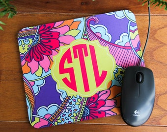 Personalized Mouse Pad - Lily Pulitzer Inspired Designs,Personalized Mouse Pad, Monogrammed Mouse Pad, Custom Mouse Pad,