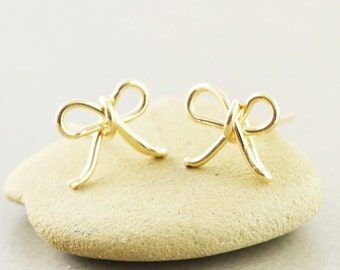 Bow Studs, Gold Bow Earrings, Bow Posts, Bridesmaid Gift