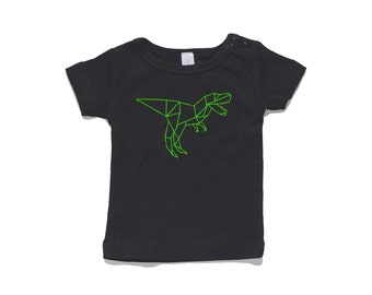 T-Rex Dinosaur Baby T-Shirt by RockPaperHeart in black or white origami geometric kids