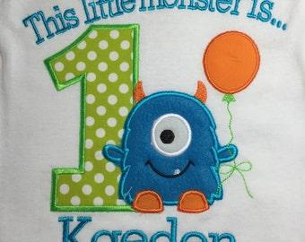 Boys little monster first birthday shirt, monster 1st birthday, fuzzy monster shirt, monster balloon shirt, monster first, monster bodysuit,