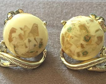 Vintage Coro Gold & White Clip-On Earrings