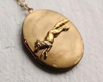 Fox Locket Necklace, Personalized Vintage, Photo Gift, Photo Jewelry, Woodland Pendant, Gold Locket, Oversized Locket, Customized Pendant