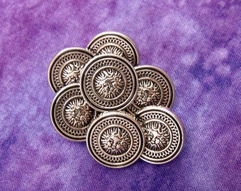 Whimsical Sun Buttons, 15mm 5/8 inch - Silver Cloud Face Plastic Buttons  - 7 VTG NOS Antiqued Silver-Tone Celestial Shank Buttons PL111