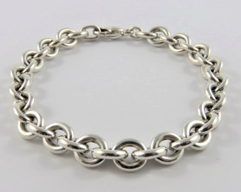 """Sterling Silver 8""""  Round Link Bracelet With Lobster Clasp"""