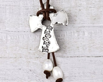 Blessed Necklace- Leather Cross Necklace- Religious Jewelry- N695