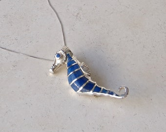 Sterling Seahorse Lapis Lazuli Brooch Pendant Vintage 1970s Free Shipping US