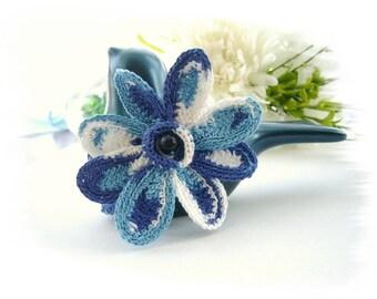 Crochet Bracelet - White Blue Bracelet - Spring Flower -  Handmade Fashion Jewellery
