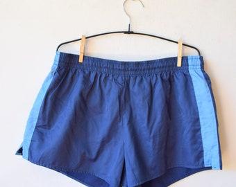 Blue running shorts, retro workout shorts, jogging vintage shorts, sport shorts, beach shorts, M/L