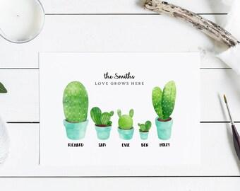 Cactus print personalised - cactus family print, cactus prints, cactus wallart, personalised family print, gardener gifts, tropical decor